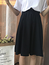 Women's Casual/Daily School Midi Skirts,Simple A Line Solid Summer