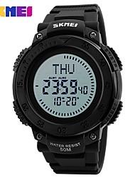 SKMEI Муж. Спортивные часы электронные часы Цифровой Compass С двумя часовыми поясами PU Группа Черный Зеленый