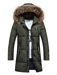 cheap -Men's Regular Padded Coat,Simple Going out Casual/Daily Camouflage-Polyester Polyester Long Sleeves