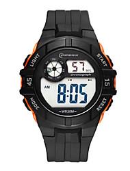 Недорогие -Муж. электронные часы Цифровой Календарь Защита от влаги С двумя часовыми поясами тревога Хронометр Plastic Группа Черный