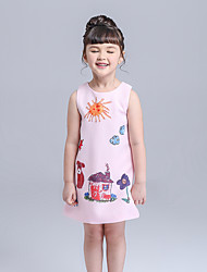 cheap -Girl's Daily Cartoon Dress,Polyester Fall Sleeveless Cartoon White Blushing Pink