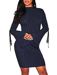 Women's Going out Plus Size Sexy Street chic Bodycon Sweater Dress,Solid Crew Neck Above Knee Long Sleeves Polyester Spring Fall Mid Rise