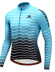 cheap -Miloto Cycling Jersey Men's Long Sleeves Bike Jersey Stretchy Autumn/Fall Winter Cycling Sky Blue+White