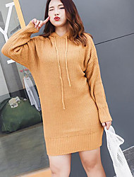 Women's Casual/Daily Long Pullover,Solid Hooded Long Sleeves Cotton Fall Winter Medium Micro-elastic