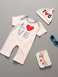 cheap -Baby Children's Stripe One-Pieces, Cotton Summer Stripes Short Sleeves Blushing Pink Gray