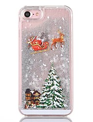 Case For iPhone 8 iPhone 8 Plus Flowing Liquid Back Cover Christmas Glitter Shine Hard PC for iPhone 8 Plus iPhone 8 iPhone 7 Plus iPhone