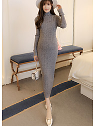 cheap -Women's Daily Bodycon Loose Dress,Solid Turtleneck Maxi Long Sleeves Acrylic Fall High Rise Stretchy Medium