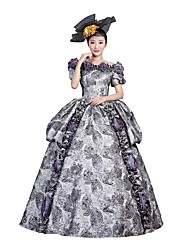Victorian Rococo Female Adults' Party Costume Masquerade Gray Cosplay Satin Short Sleeves Floor Length