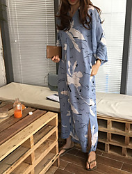 cheap -Women's Going out Cotton A Line Dress Blue, Print Maxi