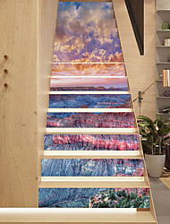 cheap -13Pcs/Set DIY Sunset Grand Canyon Tiles Stairway Wall Stickers Stair Decal Natural Landscape Cloud Flowers Floor Sticker Home Decor 18*100*13cm