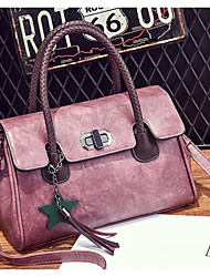 cheap -Women Bags PU Shoulder Bag Buttons for Casual All Seasons Blushing Pink Gray Purple Dark Green Brown
