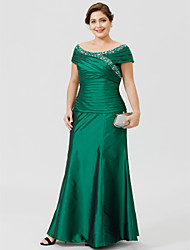 cheap -A-Line Scoop Neck Ankle-length Taffeta Mother of the Bride Dress with Beading Ruching by LAN TING BRIDE®