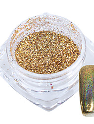 1 g / bouteille or arc-en-ciel laser holographique chrome pigment brillant nail art paillettes