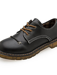 Women's Shoes PU Summer Comfort Oxfords Block Heel Round Toe Rhinestone Lace-up For Dress Black Brown