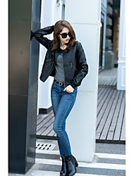 cheap -Women's Daily Simple Casual Fall Leather Jacket,Solid Round Neck Long Sleeve Short PU