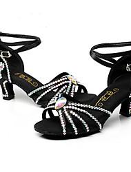 cheap -Women's Latin Shoes Silk Heel Buckle High Heel Customizable Dance Shoes Black / Indoor