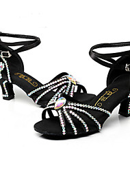 cheap -Women's Latin Silk Heel Indoor Buckle High Heel Black Customizable