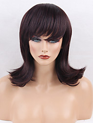 Women Human Hair Capless Wigs Dark Brown/Dark Auburn Black Medium Length Natural Wave Side Part