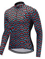 billiga Sport och friluftsliv-FUALRNY® Herr Långärmad Cykeltröja - Röd+Blå Mermaid Scales Cykel Tröja, Hög Elasisitet, Vinter