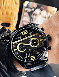 cheap -Men's Quartz Wrist Watch Fashion Watch Japanese Hot Sale Leather Band Charm Black