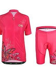 preiswerte -Fahrradtriktot mit Fahrradhosen Damen Kurzarm Fahhrad Kleidungs-Sets Leicht Terylen LYCRA® Tier Sommer Radsport/Fahhrad Draußen Fuchsia