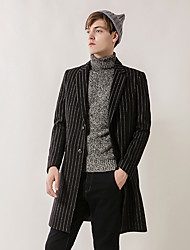 Men's Party Work Simple Vintage Casual Winter Fall Coat,Solid Notch Lapel Long Sleeve Long Wool Cotton Rayon
