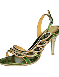 abordables -Mujer Zapatos Poliuretano Primavera / Verano Botas de Moda Sandalias Tacón Stiletto Puntera abierta Pedrería / Cristal / Purpurina Dorado