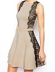cheap -Women's Work A Line Lace Dress - Color Block, Lace High Rise
