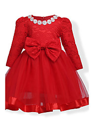 cheap -Girl's Birthday Going out Solid Jacquard Dress,Cotton Polyester Fall All Seasons Long Sleeve Lace Red