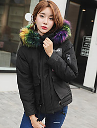 cheap -Women's Padded Coat,Street chic Daily Going out Solid-Polyester Polyester Long Sleeves