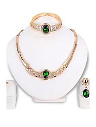 Women's Necklace Bracelet Crystal Rhinestone Fashion Luxury Crystal Rhinestone Irregular Earrings Necklace Ring Bracelets For Wedding