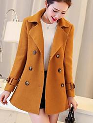 Для женщин На выход На каждый день Осень Зима Пальто Рубашечный воротник,Уличный стиль Однотонный Обычная Длинный рукав,Шерсть