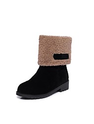 Women's Shoes Fleece Winter Snow Boots Boots Low Heel Round Toe Mid-Calf Boots For Casual Dress Green Light Grey Black