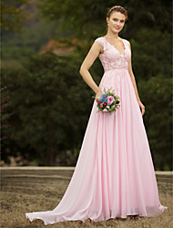 cheap -A-Line V Neck Sweep / Brush Train Chiffon Tulle Floral Lace Custom Wedding Dresses with Appliques Draping by LAN TING BRIDE®