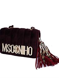 Women Bags All Seasons Velvet Shoulder Bag Zipper for Casual Black Red Gray Dark Green