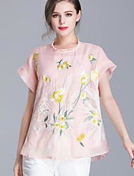 cheap -Women's Going out Vintage Casual Shirt,Solid Floral Embroidery Round Neck Short Sleeves Cotton