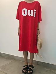 preiswerte -Damen T Shirt Kleid-Lässig/Alltäglich Buchstabe Rundhalsausschnitt Midi Halbe Ärmel Baumwolle Sommer Mittlere Hüfthöhe Dehnbar Dünn