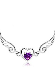 cheap -Women's Heart Wings / Feather Fashion Elegant Pendant Necklace Rhinestone Rhinestone Alloy Pendant Necklace , Wedding Daily