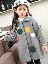 cheap -Girls' Polka Dots Jacket & Coat,Cotton Nylon Winter Fall Long Sleeve Red Blushing Pink Gray