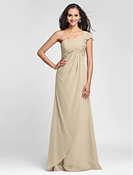 cheap -Product Sample Sheath / Column V Neck Floor Length Chiffon Bridesmaid Dress with Criss Cross Side Draping by LAN TING BRIDE®