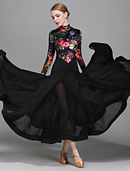 cheap -Ballroom Dance Dresses Women's Performance Chiffon Satin Velvet Ice Silk Pattern/Print 1 Piece Long Sleeve Natural Dress