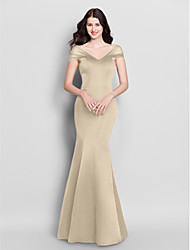 cheap -Product Sample Mermaid / Trumpet V Neck Floor Length Satin Bridesmaid Dress with Pleats by LAN TING BRIDE®
