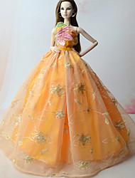 abordables -Robes Robes Pour Poupée Barbie Orange Satin/ Tulle Dentelle Robe Pour Fille de Jouets DIY