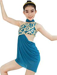 Ballet Tenue Femme Enfant Spectacle Élastique Lycra Plissé Paillette Sans manche Taille haute Robes Short Tour de Cou Coiffures