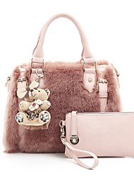 cheap -Women Bags Fur Bag Set Zipper for Casual Outdoor All Seasons White Black Blushing Pink