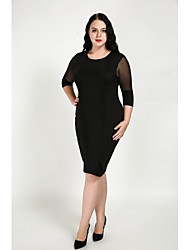 cheap -Cute Ann Women's Daily Plus Size Sheath Dress,Patchwork Round Neck Knee-length Half Sleeves Cotton Polyester Fall All Seasons Mid Rise