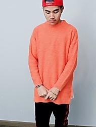 cheap -Men's Daily Casual Regular Pullover,Print Round Neck Long Sleeves Polyester Fall Medium Micro-elastic
