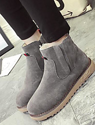 Women's Shoes Nubuck leather Fall Winter Snow Boots Fashion Boots Boots Chunky Heel Booties/Ankle Boots For Casual Brown Gray Black
