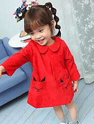 baratos -Menina de Vestido Inverno Primavera Manga Longa Desenho Vermelho Rosa