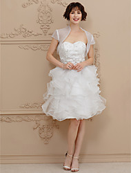 Princess Sweetheart Knee Length Lace Organza Wedding Dress with Beading Sash / Ribbon Cascading Ruffles by TS Couture®